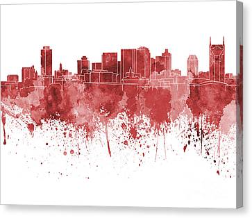 Nashville Skyline In Red Watercolor On White Background Canvas Print by Pablo Romero