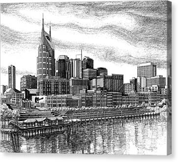 Nashville Skyline Canvas Print - Nashville Skyline Ink Drawing by Janet King