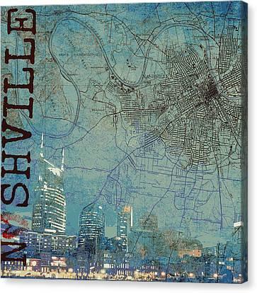 Nashville Skyline Map Canvas Print by Brandi Fitzgerald