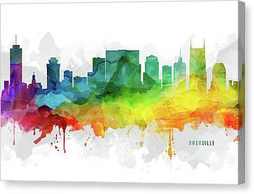 Nashville Skyline Mmr-ustnna05 Canvas Print by Aged Pixel