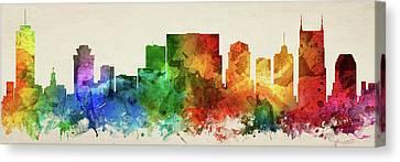 Nashville Skyline Canvas Print - Nashville Skyline Panorama Ustnna-pa03 by Aged Pixel