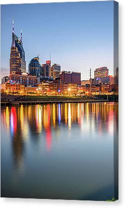 Canvas Print featuring the photograph Nashville Skyline Reflections - Color Edition by Gregory Ballos