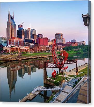 Canvas Print featuring the photograph Nashville Skyline - Square Format by Gregory Ballos