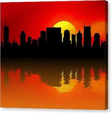 Nashville Skyline Sunset Reflection Canvas Print by Dan Sproul
