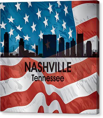 Nashville Tn American Flag Squared Canvas Print by Angelina Vick