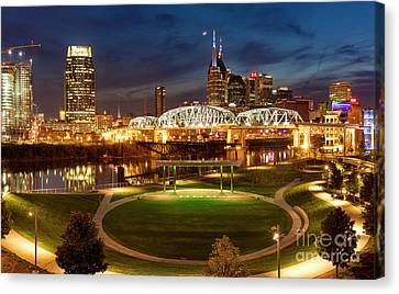 Canvas Print featuring the photograph Nashville Twilight Skyline by Brian Jannsen