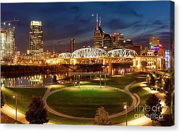 Nashville Twilight Skyline Canvas Print by Brian Jannsen