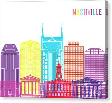 Nashville V2 Skyline Pop Canvas Print by Pablo Romero