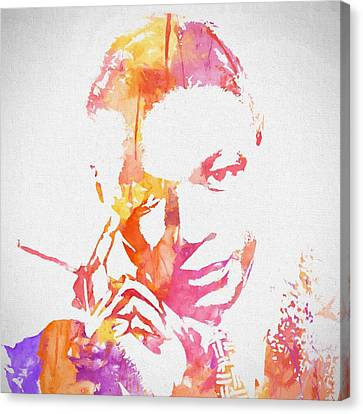 Nat King Cole Watercolor Canvas Print by Dan Sproul