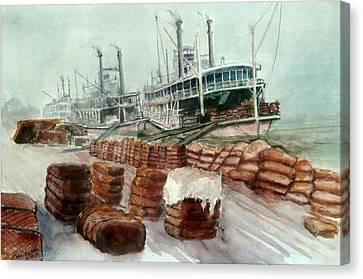 Natchez Cotton Docks  Canvas Print