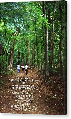 Natchez Trace Walkers With Poem Canvas Print by Randy Muir