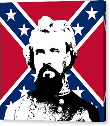Nathan Bedford Forrest And The Rebel Flag Canvas Print