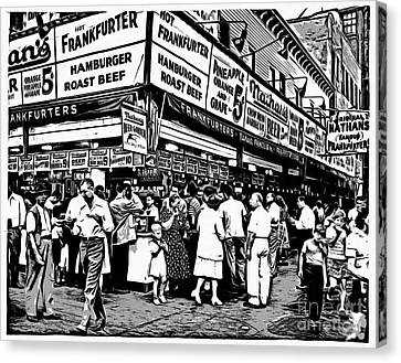 Nathans Famous Frankfurter Coney Island Ny Canvas Print by Edward Fielding