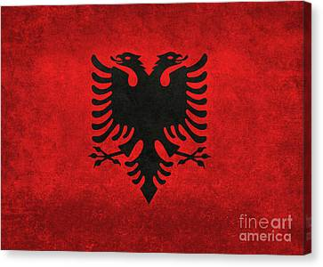 Canvas Print featuring the digital art National Flag Of Albania With Distressed Vintage Treatment  by Bruce Stanfield