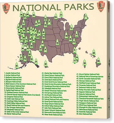 National Parks Map Canvas Print