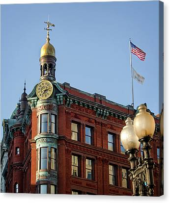 Canvas Print featuring the photograph National Savings And Trust Company by Greg Mimbs