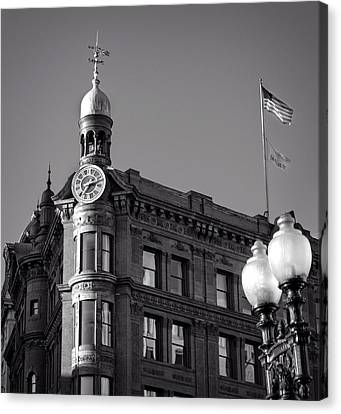 Canvas Print featuring the photograph National Savings And Trust Company In Black And White by Greg Mimbs