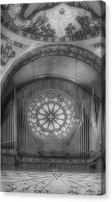National Shrine Rose Window And Organ Bw Canvas Print by Susan Candelario