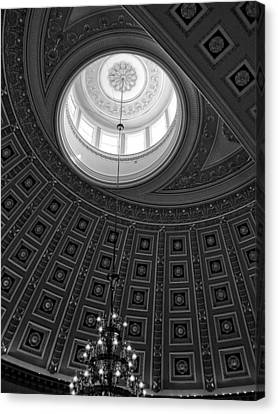Chrystal Canvas Print - National Statuary Hall Ceiling In Black And White by Chrystal Mimbs