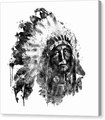 Canvas Print featuring the mixed media Native American Chief Black And White by Marian Voicu