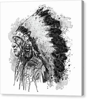 Colorful Paints Canvas Print - Native American Chief Side Face Black And White by Marian Voicu