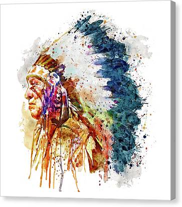 Contemporary Digital Art Canvas Print - Native American Chief Side Face by Marian Voicu