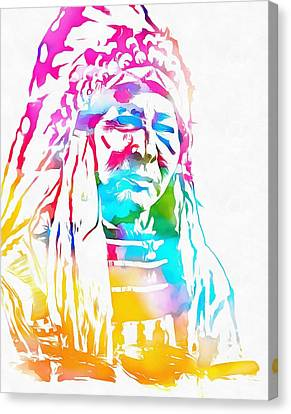 Native American Chief Watercolor Headdress Canvas Print by Dan Sproul