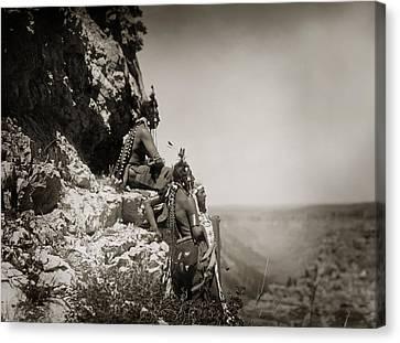 Native American Crow Men On Rock Ledge Canvas Print by Jennifer Rondinelli Reilly - Fine Art Photography