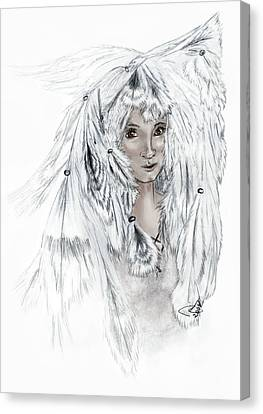 Native American Eagle Feather Woman Canvas Print