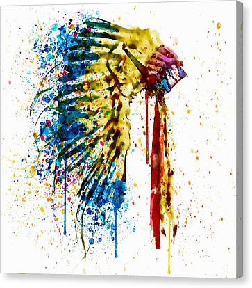 Contemporary Digital Art Canvas Print - Native American Feather Headdress   by Marian Voicu