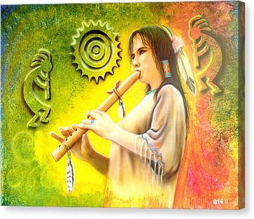 Native American Flute Player Canvas Print by Amatzia Baruchi