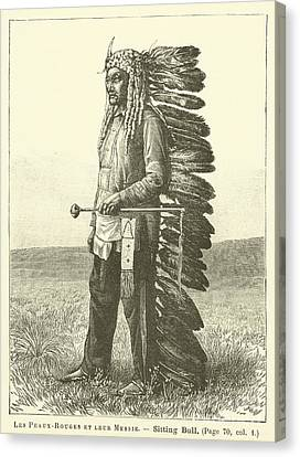 Antiquities Canvas Print - Native American by French School
