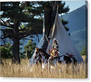 Native American In Full Headdress In Front Of Teepee Canvas Print by Nadja Rider