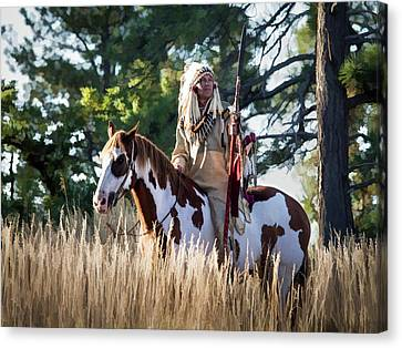 Native American In Full Headdress On A Paint Horse Canvas Print by Nadja Rider