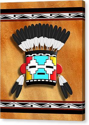Hopi Canvas Print - Native American Indian Kachina Mask by John Wills