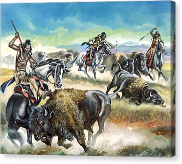 Native American Indians Killing American Bison Canvas Print by Ron Embleton
