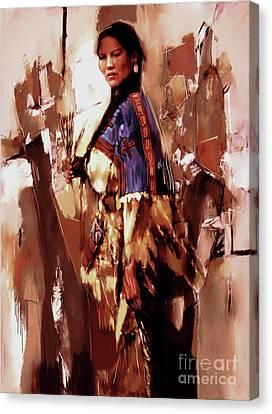 Native American Lady 03  Canvas Print by Gull G