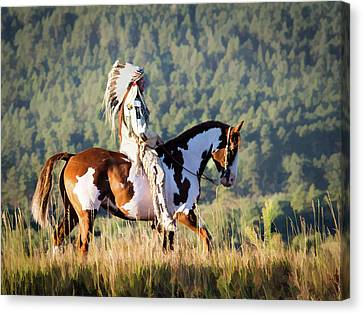 Native American On His Paint Horse Canvas Print by Nadja Rider