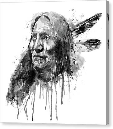 Native American Portrait Black And White Canvas Print by Marian Voicu