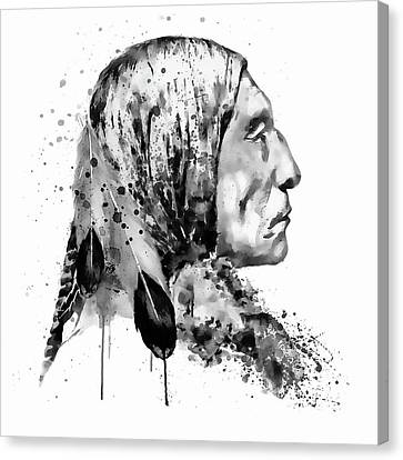 Native American Side Face Black And White Canvas Print