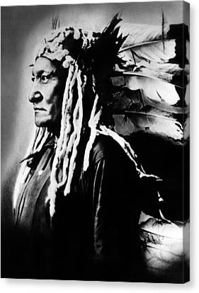 Native American Sioux Chief Sitting Canvas Print by Everett