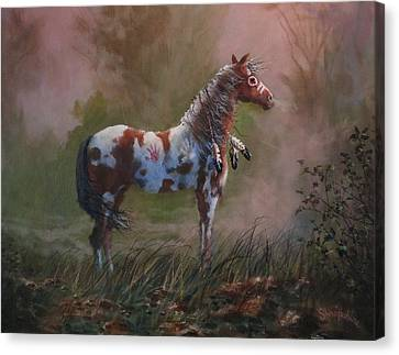Native American War Pony Canvas Print by Tom Shropshire