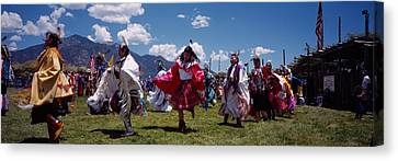 Native Americans Dancing, Taos, New Canvas Print by Panoramic Images
