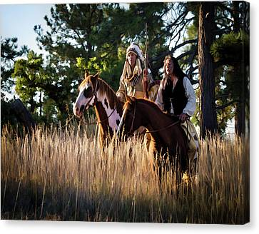 Native Americans On Horses In The Morning Light Canvas Print by Nadja Rider