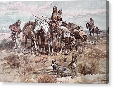 Native Americans Plains People Moving Camp Canvas Print by Charles Marion Russell
