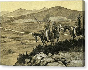Native Americans Watching A Locomotive Traverse The American West Canvas Print