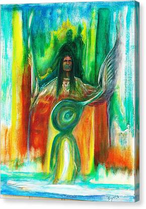 Canvas Print featuring the painting Native Awakenings by Kicking Bear  Productions