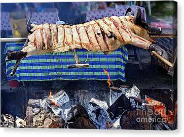 Canvas Print featuring the photograph Native Barbecue In Taiwan by Yali Shi