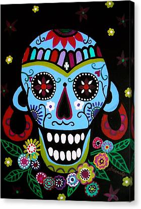 Canvas Print featuring the painting Native Dia De Los Muertos Skull by Pristine Cartera Turkus