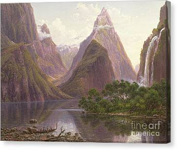 Native Figures In A Canoe At Milford Sound Canvas Print by Eugen von Guerard